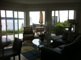 Living Room with a view of Discovery Passage in Campbell River, BC